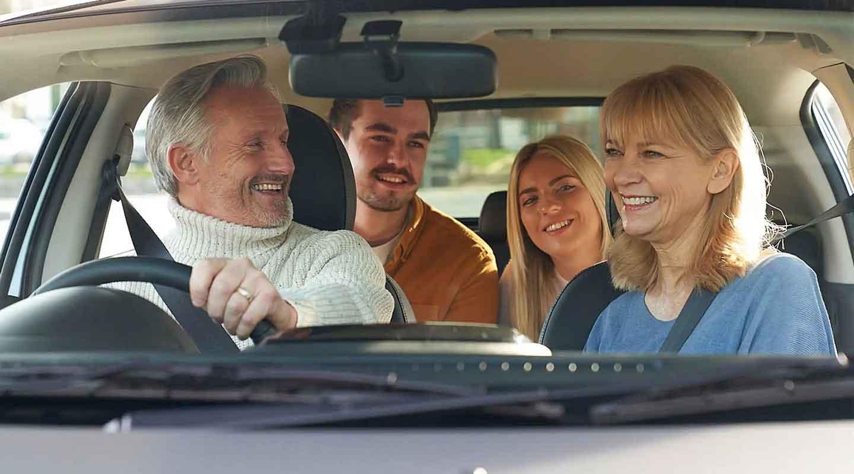 Mirage family inside car